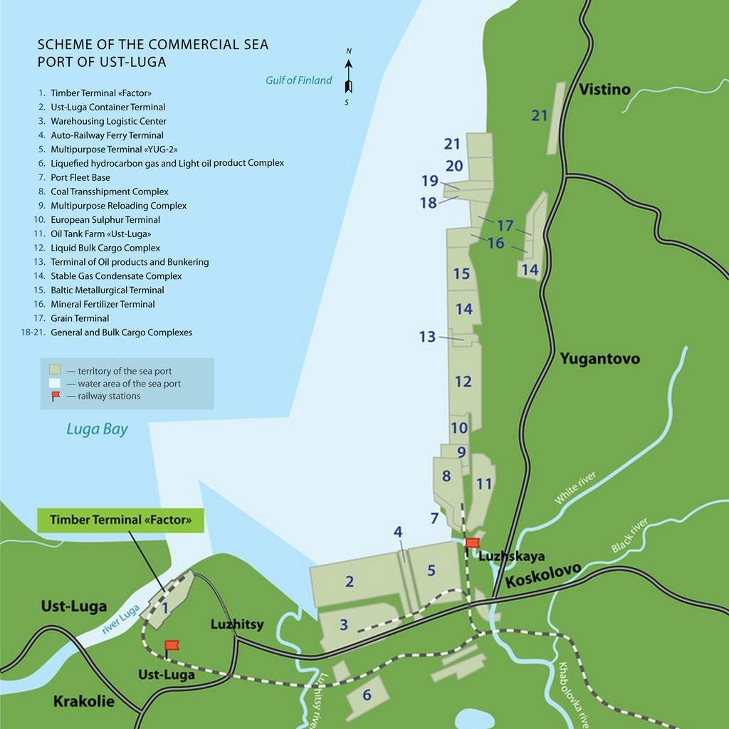 Scheme of the Commercial Sea Port of Ust-Luga